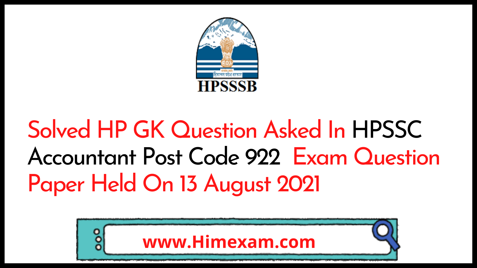 Solved HP GK Question Asked In HPSSC Accountant Post Code 922  Exam Question Paper Held On 13 August 2021