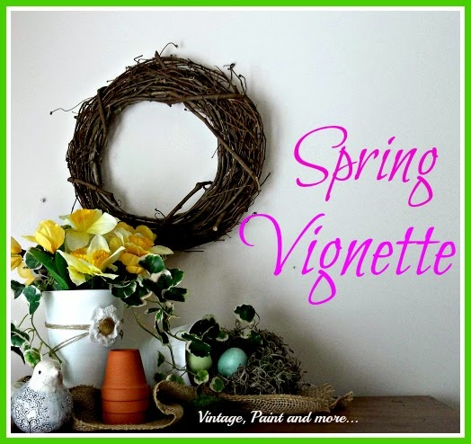 Spring Vignette - spring, grapevine wreath decor