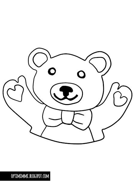 A coloring page of a teddy bear / Värityskuva nallesta