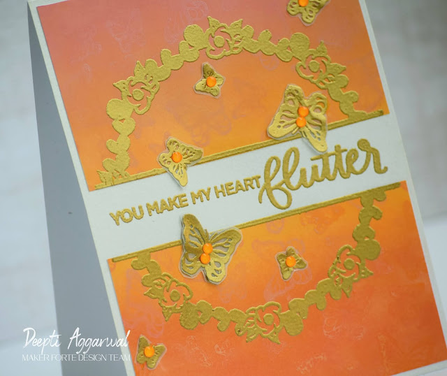 Close up of Handmade card using Maker Forte Bloom with Happiness Stamp set