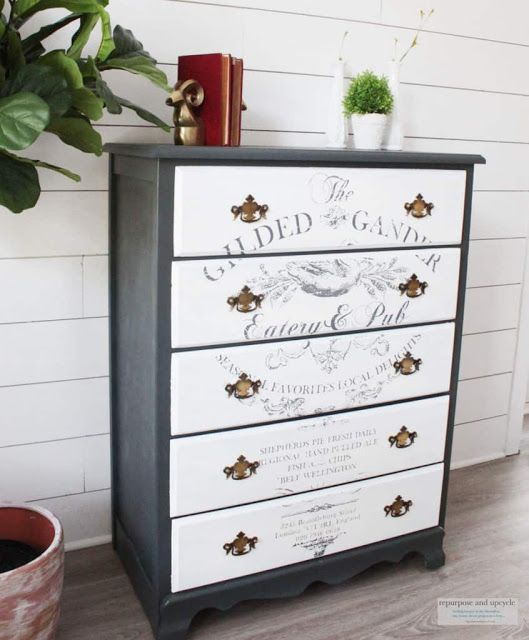 french farmhouse dresser makeover with an image transfer