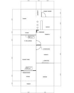 Denah Rumah Minimalis Ukuran 7x15 Full Bangunan