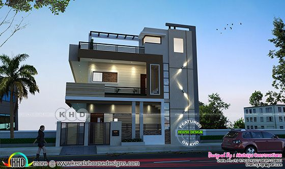 Modern Karnataka home design by Akshaya Constructions