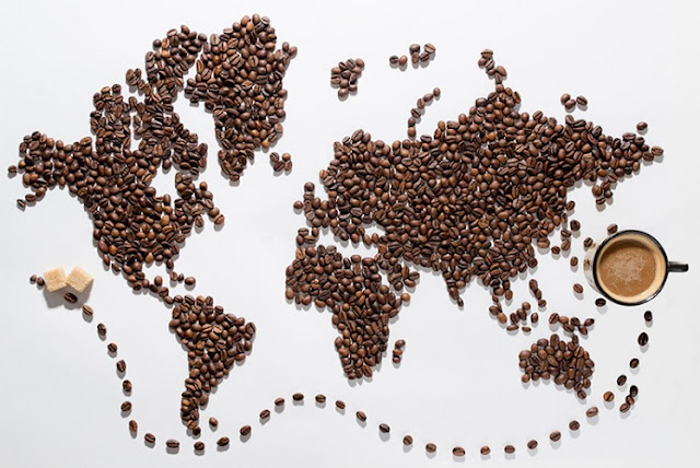 World Map Made with Coffee Beans