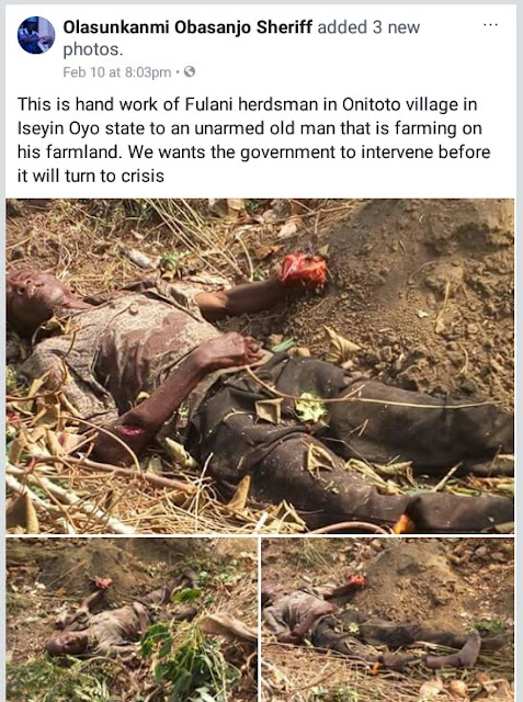 Graphic Photos: Elderly farmer hacked to death by suspected herdsmen in Oyo State