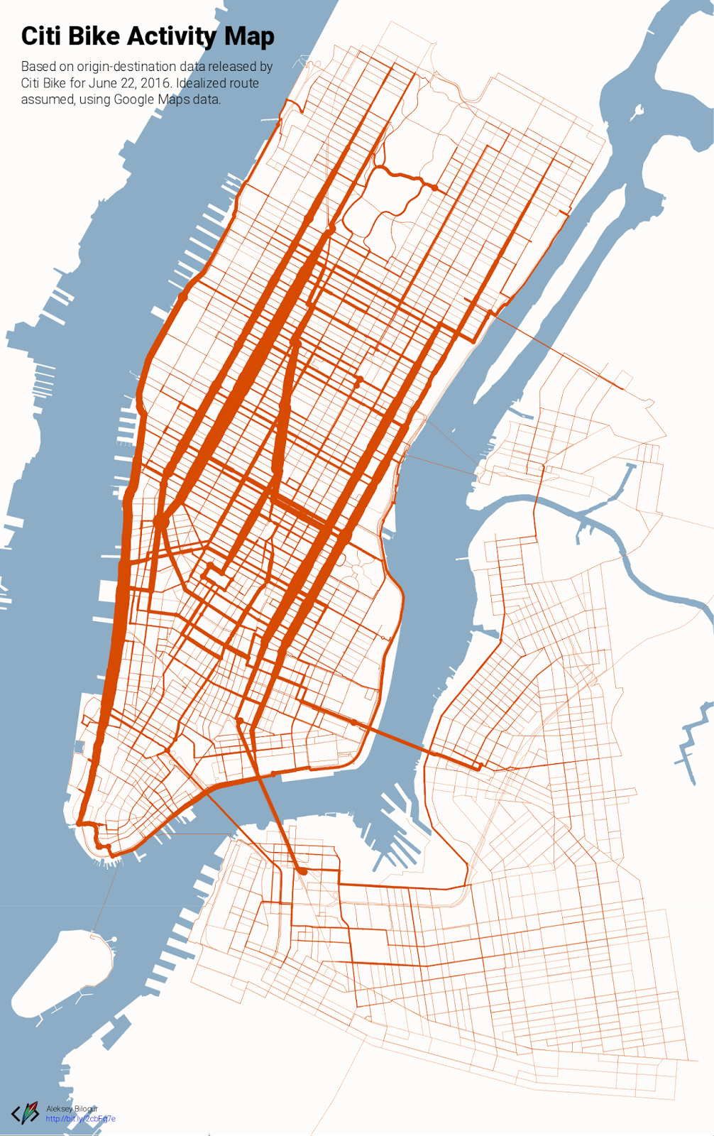 New York City bikeshare activity map (June 22, 2016)