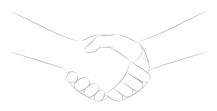 Jabat tangan menggambar jari