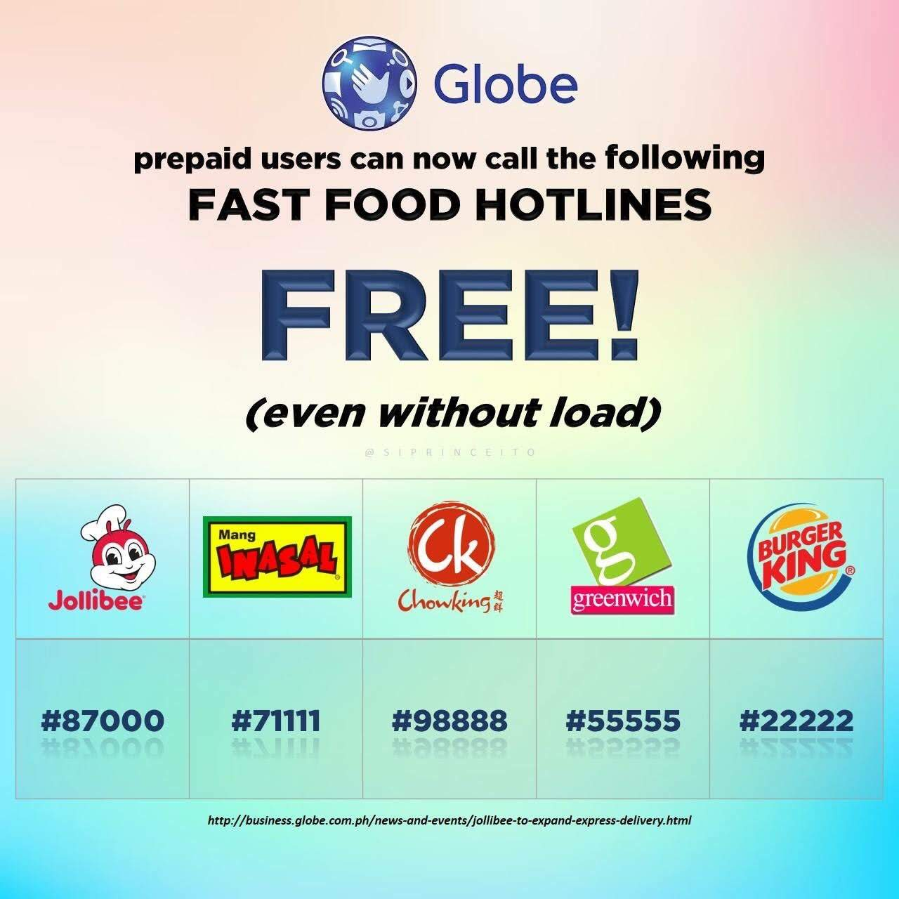 FREE Calls to Your Favorite Fast-food Chain on Globe Phones