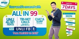 Smart Prepaid Plan ALL IN 99 with 7 days Unli all-net texts, Trinet Calls and UNLI FB