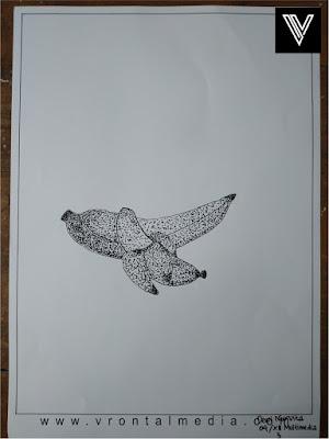 contoh gambar pointilis pisang