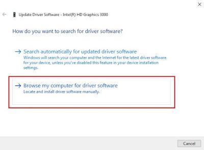 Pemilihan update driver intel