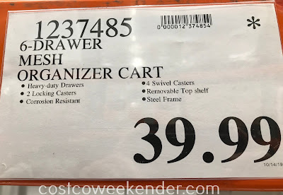 Deal for the Seville Classics 6-Drawer Rolling Organizer at Costco
