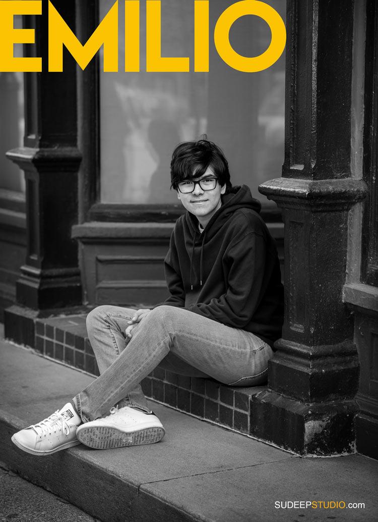 Guys Senior Portrait in Magazine Fashion Style Black White by SudeepStudio.com Ann Arbor Senior Pictures Photographer