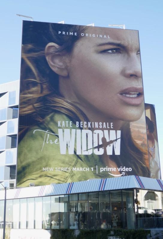 Kate Beckinsale Widow series launch billboard