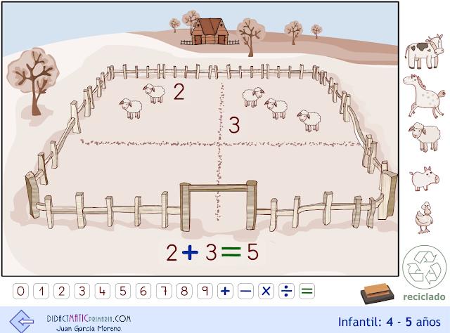 Granja. Infantil 4-5 años. Escenario para la numeración.