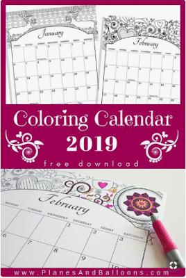 coloring calendars 2019