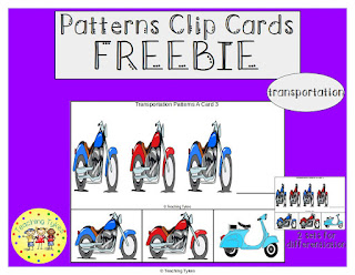 https://www.teacherspayteachers.com/Product/Transportation-Patterns-Task-Clip-Cards-FREEBIE-3004530