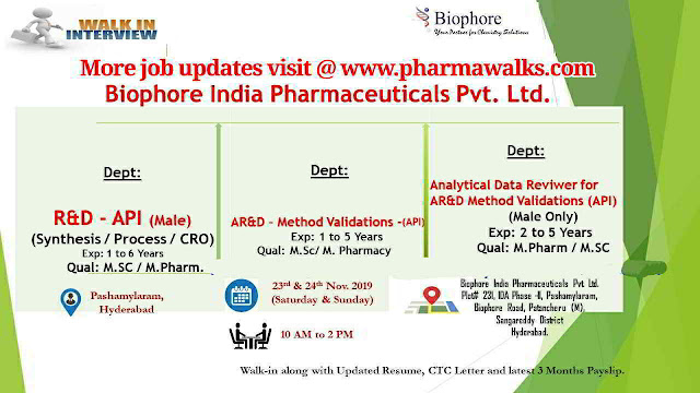 Biophore India walk-in interview for FAR&D / AR&D / R&D on 23rd & 24th Nov' 2019 @ Hyderabad