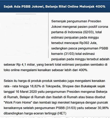 Belanja online meningkat