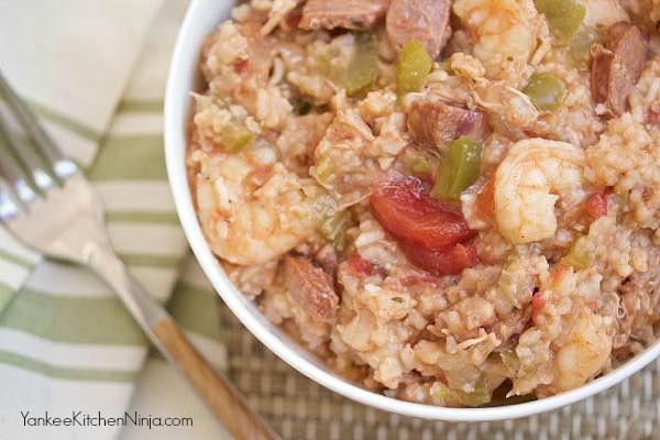 Easiest slow cooker jambalaya - YankeeKitchenNinja.com