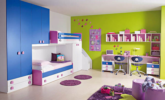 Purple Blue And Green Kids Room