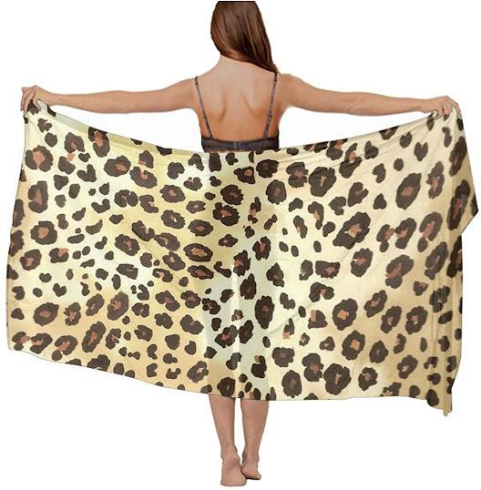 Large Leopard Print Silky Chiffon Scarves