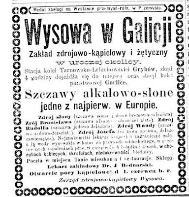 Wysowa reklama 1889