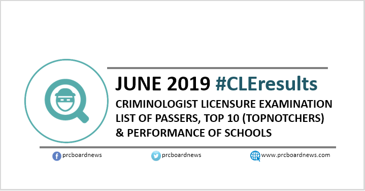CLE RESULT: June 2019 Criminologist CLE board exam list of passers