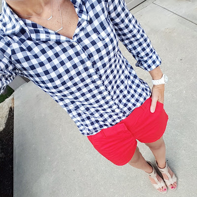 J. Crew Factory Gingham Top $35 (reg $57) & J. Crew Factory Chino Shorts $15 (reg $35)