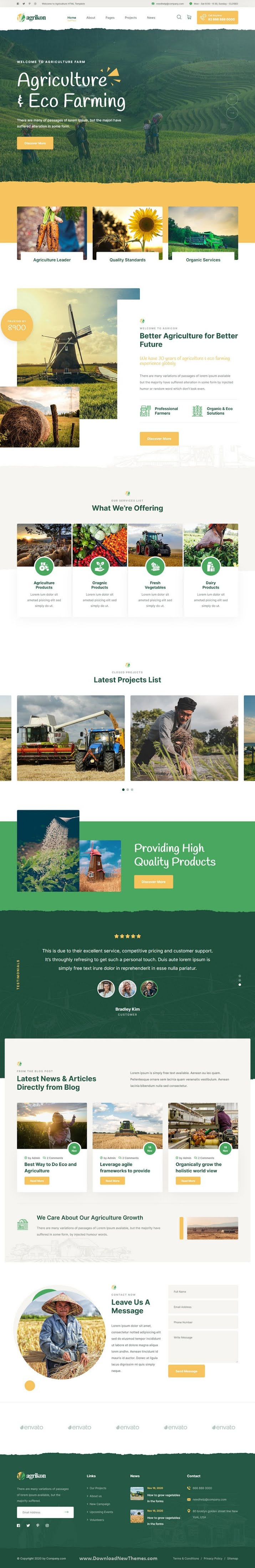 HTML Template For Agriculture Farm and Farmers