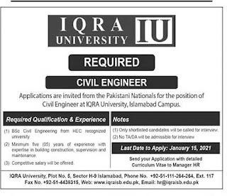 Iqra University Islamabad Jobs 2021 for Civil Engineer