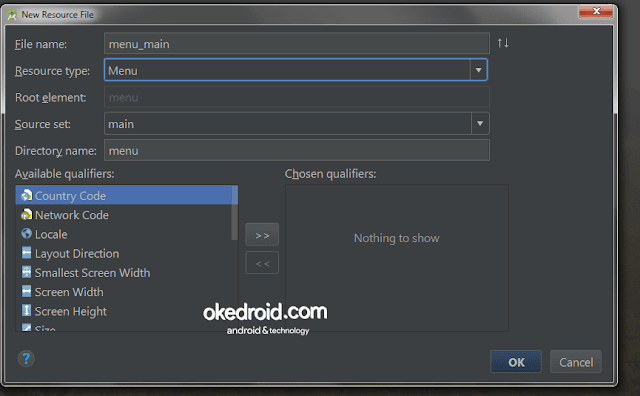 Menu New Resource file Android Studio