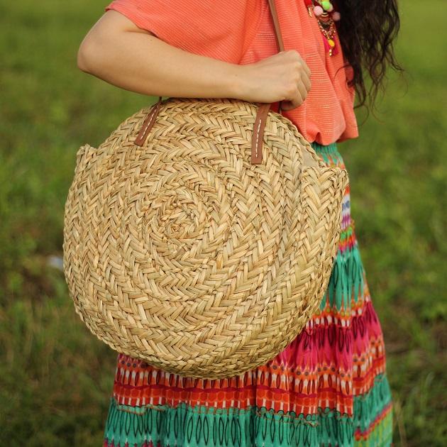 Popjulia Woven Straw Beach Shoulder Bag