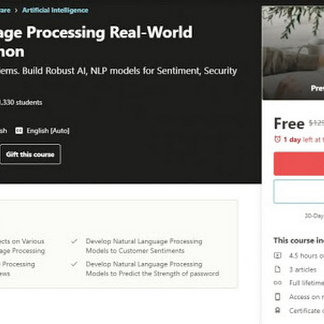 [100% Off] Natural Language Processing Real-World Projects in Python  Worth 129,99$