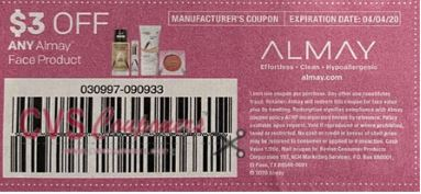 "$3.00/1 Almay Face Coupon from ""SMARTSOURCE"" insert week of 3/8/20."