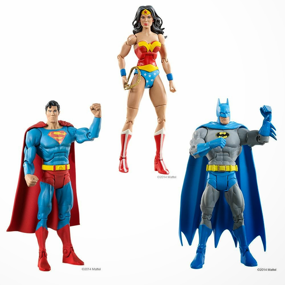 "DC Comics Super Powers 6"" Action Figures by Mattel - Superman, Wonder Woman & Batman"