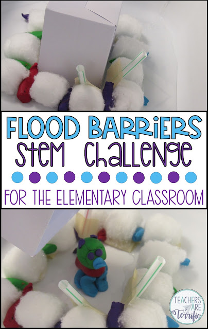 In this STEM Challenge, students build a barrier that will slow or stop the flow of water. First, they test various absorbent items.  They use test results help choose an absorbent item and design the flood-proof barrier. It is tested when water is poured into the structure's container. Great problem solving occurs with this STEM project! #teachersareterrific #STEM #elementary