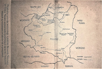 Oryginalna autorska wersja mapy z podróży Bernarda Newmana po Polsce