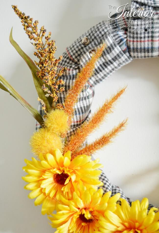 Flannel Shirt Sleeve Fall Wreath With Dollar Store Florals