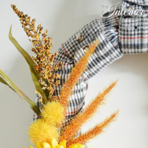 Easy Peasy Recycled Flannel Shirt Sleeve Fall Wreath