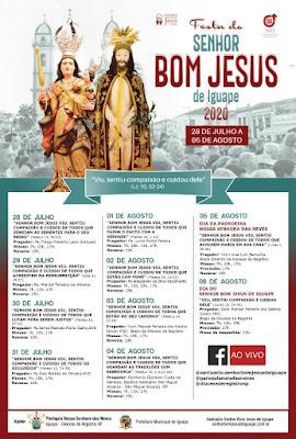 Celebrações das Missas Bom Jesus de Iguape serão transmitidas via internet