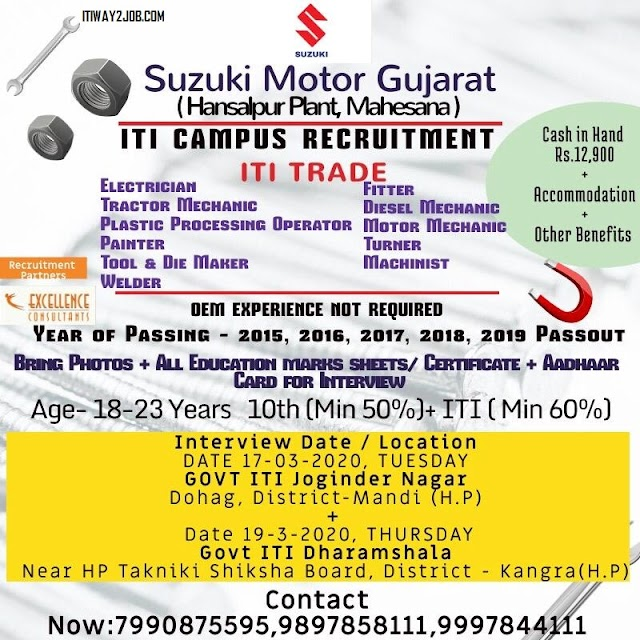 ITI Jobs Campus Placement In Himachal Pradesh Dist. Kangra