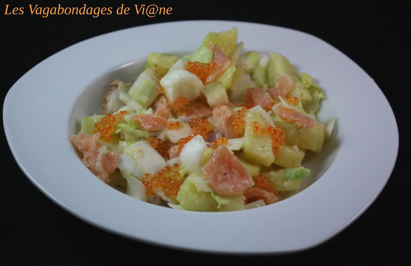 Salade de pommes de terre l 39 endive et au saumon - Salade pomme de terre saumon fume ...