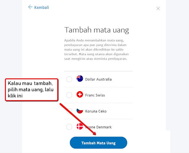 akun PayPal tambah mata uang