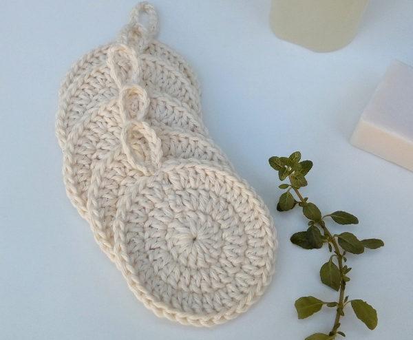 Discos de crochê retirar maquiagem algodão orgânico vestimentarte