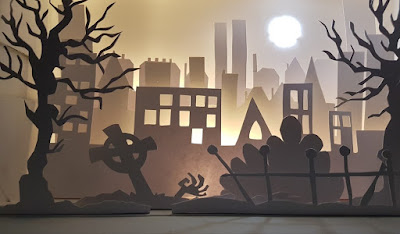 Carmen Wing: Whoopidooings Blog: Hand Cut Paper Cut Graveyard Shadow Box (with added zombie!)