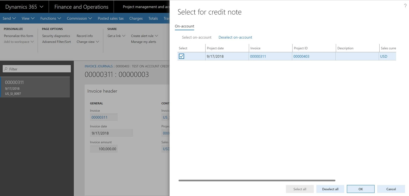 split the on account invoice transaction for credit note