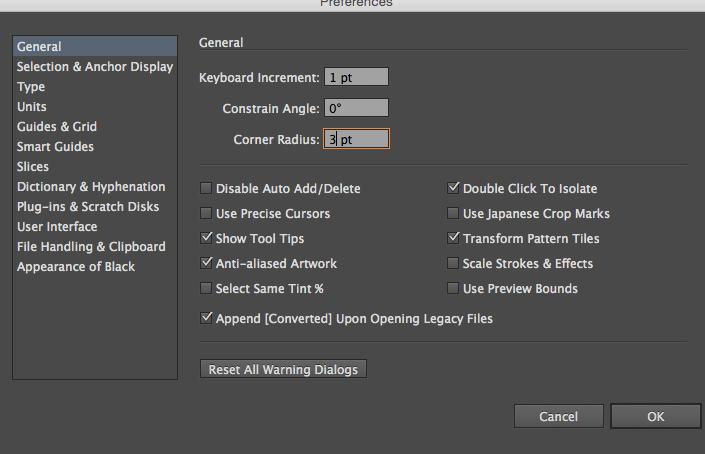[筆記] illustrator CS6 (mac) 設定圓角矩形的半徑