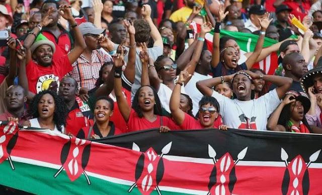 Kenyans with their flag