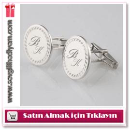 Kişiye Özel Yuvarlak 925 Ayar Gümüş Kol Düğmesi